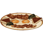Vector graphics of bacon and egg breakfas