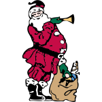 Santa and his toy bag vector