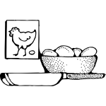 Pot of eggs ready too be fried vector image