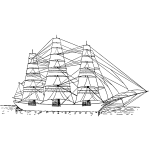 Fully rigged ship vector image