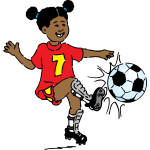 Girl playing soccer vector image