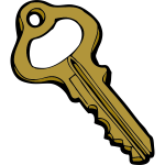 Old style hollow door key vector image