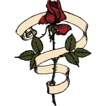 Rose with scroll vector drawing
