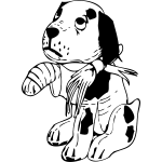 Sad dog with a broken leg vector illustration