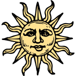Old woodcut sun vector image