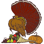 Turkey and vegetables vector drawing