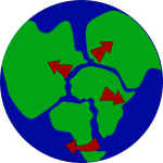 Earth with continents breaking up