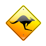 Kangaroo on road caution sign vector drawing