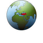 Turkey location on globe vector illustration
