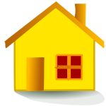 Vector graphics of small orange house icon