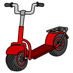 Vector illustration of red kick scooter