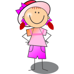 Vector drawing of pink and red girl smiling stick figure