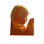 Vector illustration of young woman praying
