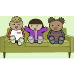 Kids on a sofa watching TV vector drawing