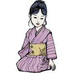 Vector drawing of Asian lady in purple kimono
