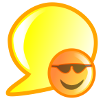 Vector illustration of orange smiley talk bubble