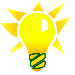 Vector drawing of green energy glowing bulb