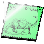Vector image of dinosaur stamp mounted in an opened stamp mount