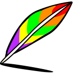 Drawing of rainbow colored feather
