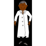 Scientist in white lab coat vector clip art