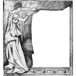 Lady behind curtain frame