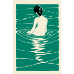 Vector drawing of lady bathing in a hot spring