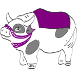 Vector illustration of cow with purple saddle