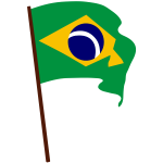 Flag of Brazil on pole vector drawing