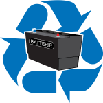 Battery recycling point vector sign
