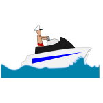 Image of man in swimming trunks on a leisure boat