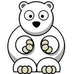 Confused polar bear vector clip art