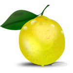 Photorealistic lemon with a leaf vector illustration