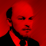 Lenin portrait red color