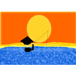 Fishing under sunset vector image