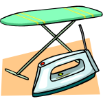 Ironing board and iron vector clip art