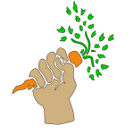 Hand holding carrot vector drawing