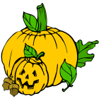Color Halloween pumpkins vector clip art