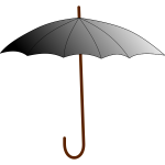 Grayscale umbrella with brown stick vector graphics