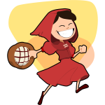 Vector clip art of happy little Red Riding Hood