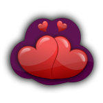 Vector graphics of four loving hearts in a purple bubble