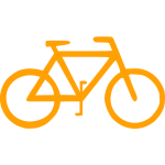 Yellow bicycle silhouette vector image
