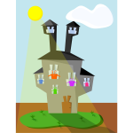 Vector clip art of cartoon monsters family home