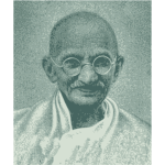 Vector drawing of portrait of Mahatma Gandhi