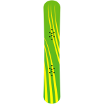 Green and yellow snowboard vector clip art