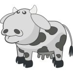 Vector clip art of gray cow with spots