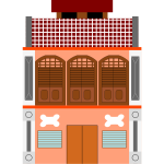 Vector illustration of transitional-style shop building in Malaysia