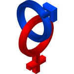 3D style male and female symbols vector clip art