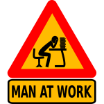 Man at intellectual work board sign