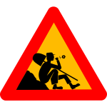 Vector illustration of man resting at construction site traffic sign