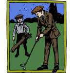 man golfing colour